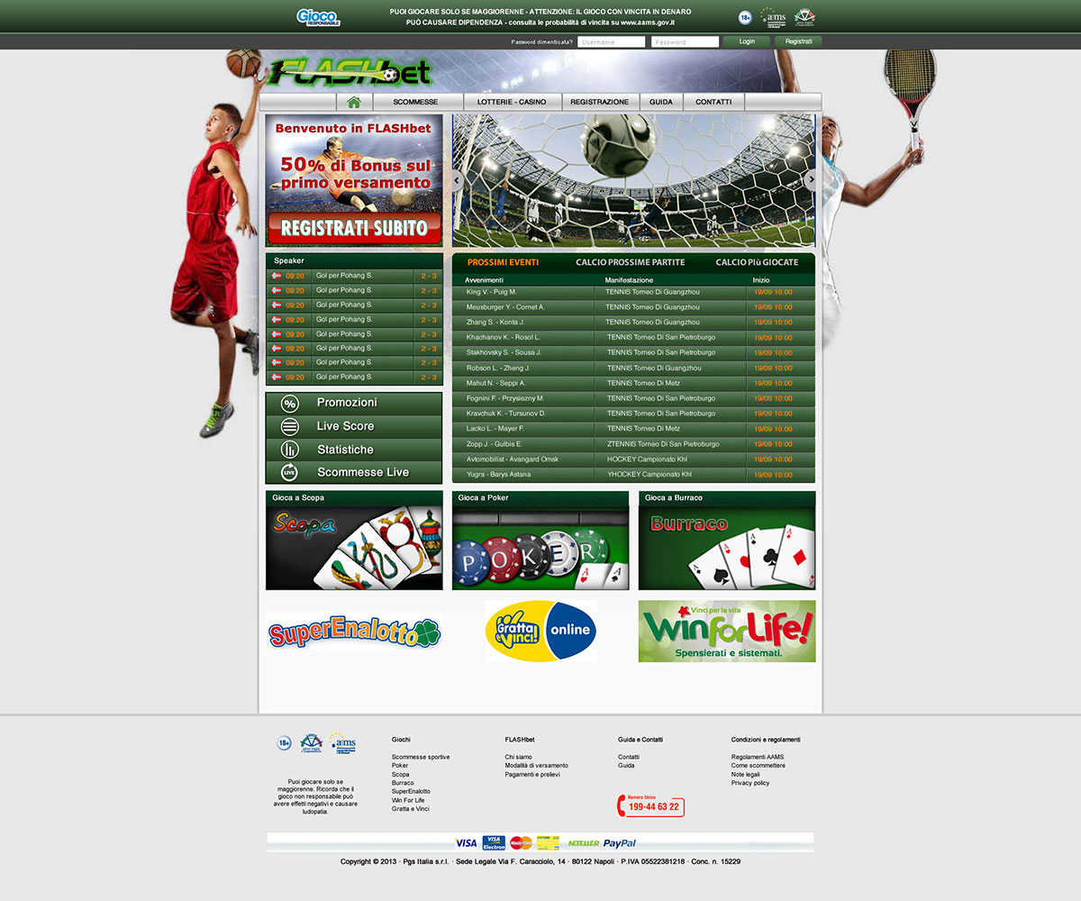 Homepage sito Flashbet