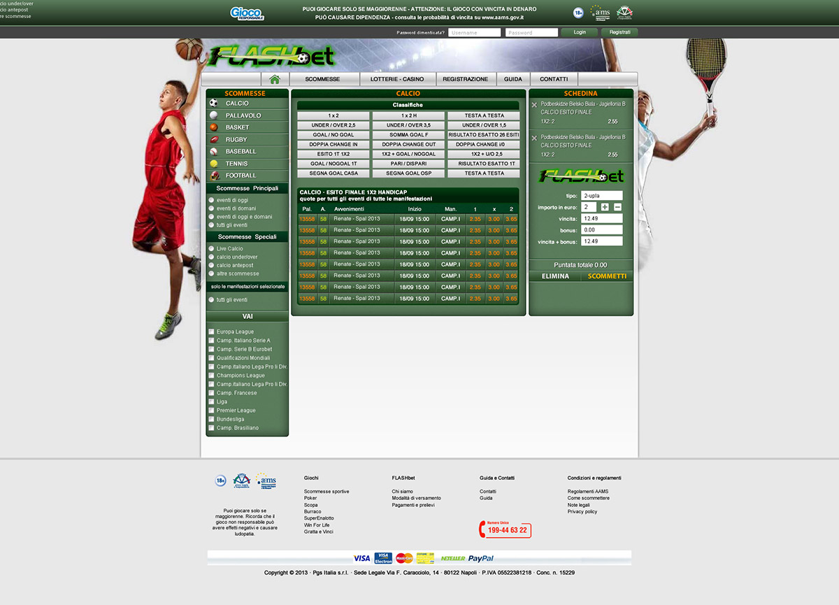 Pagina Scommesse sportive sito Flashbet